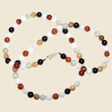 "30"" Jadeite Jade Multi Colored Necklace w/ 10mm Beads"