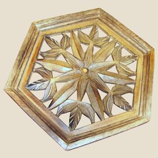 """Hand Carved Teak 12"""" Wall Hanging"""