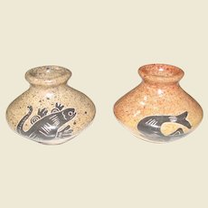 Pacific Northwest Native American Pair of Pottery Vases, Unknown Artist, Mint