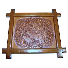 Vintage Hand Tooled Leather Picture of Deer in Forest