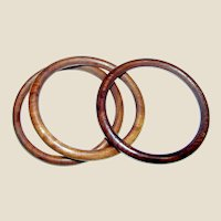 Three Hardwood Bangle Bracelets