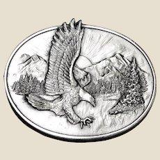 1982 American Eagle Belt Buckle, SilverTone Metal, Siskiyou, Like New
