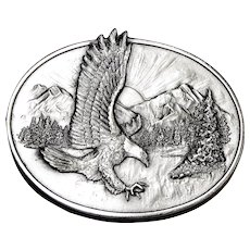 1982 American Eagle Belt Buckle, SilverTone Metal, Siskiyou, Like New