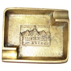 WW2 Heavy Cast Brass Cigar / Cigarette Ashtray, w/ 1945 Image of Frankfurt