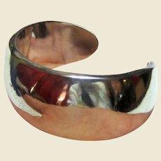Sleek Vintage Taxco Sterling Silver Cuff Bracelet, 44.3 grams