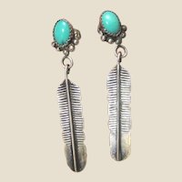 Native American Sand Cast Feather & Turquoise Earrings