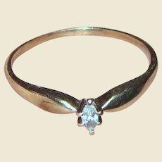Sz 9 Marquise Diamond 10k Yellow Gold Ring