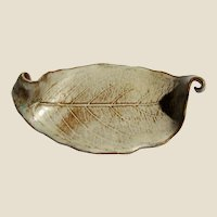 Hand Made Art Pottery Leaf Dish
