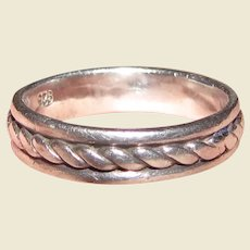 Sturdy Twisted Rope Design Sterling Ring Sz 7.5