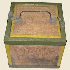 1950's Oberlin Bait Canteen, Cricket Box, Rustic, Wooden & Metal Construction with Latch Door on Top