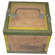 1950's Oberlin Bait Canteen, Cricket Box, Rustic, Wooden & Metal Construction with Latch Door on Top