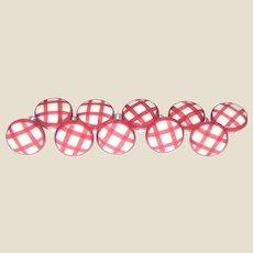 Set of 10 Porcelain Cabinet Knobs / Pulls - Pink Checker Picnic Pattern