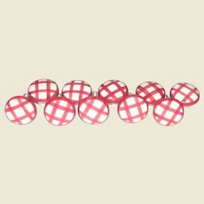 Set of 10 Porcelain Cabinet Knobs / Pulls - Pink Checker Picnic Pattern