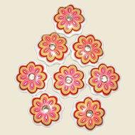 Set of 8 Vintage Floral Porcelain Drawer Knobs, Pink Green & Blue Flower