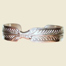 Sterling Feather Bracelet by Native American Silversmith Lincoln Robert