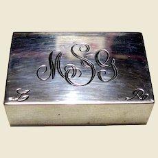 Sterling Silver Double Pill Box w/ Ornate Monogram