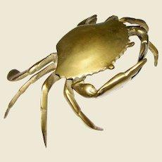 Vintage Cast Brass Crab Trinket Box