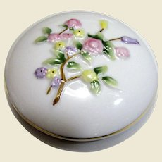 Charming Hand Painted Floral Porcelain Trinket Box