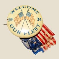 "1934 ""Welcome Our Fleet"" U.S. NAVY 1 1/4"" Pinback Button, Stars & Stripes, Rare"