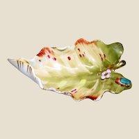 Art Deco Trinket Tray, Flower & Bug on Leaf, Hand Painted Porcelain