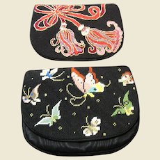 Hand Embroidered Needlepoint Clutch Purse w/ Interchangeable Fronts