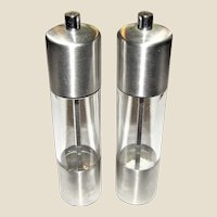 "COLE & MASON Salt & Pepper Grinders, Stainless Steel & Acrylic 8"" Tall, Like New"