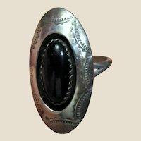 Native American Sterling & Onyx Ring Sz 5 1/2