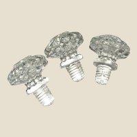 3 Victorian Press Glass Knobs w/ Screw Thread