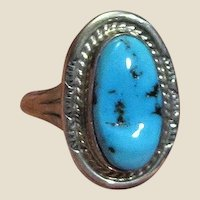 Navajo Sterling & Sleeping Beauty Turquoise Ring Size 8.25 by Mike Ganadonegro