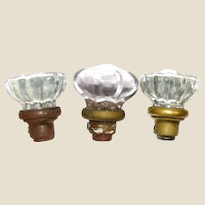 3 Vintage Glass Door Knobs with Brass Base, NO Matching Pair, Architectural Salvage