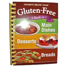 Gluten-Free 3 Books in 1 Cookbook, Spiral HC Favorite Brand Name, Like New