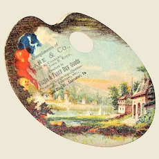 Vintage Trade Card Advertising Lane & Co., River & Village on Artist Palette, Mint