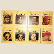 Vintage Portraits Of Greatness 8 Books HC 1965-1967 The Life & Times of: (Dante, Louis XIV, Columbus, Elizabeth, Chopin, Goethe, St Frances, Beethoven) by Curtis International, Nearly New