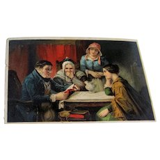 Victorian Trade Card Man Reading to Three Women, All in Typical Period Dress