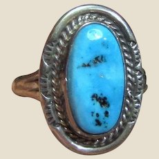 Navajo Sterling & Sleeping Beauty Turquoise Ring Size 8.5 by Mike Ganadonegro