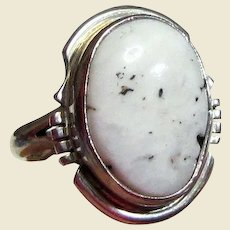 Arkie Nelson Navajo White Buffalo Sterling Ring Sz 7
