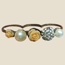 Romantic Vintage Scarf Ring w/ Flowers, Rhinestones & Glass Pearls