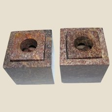 Pair Granite Modernist Candle Holders for 6 Sizes of Candles