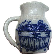 Salmon Falls Salt Glaze Stoneware Miniature Pitcher, Blueberry Design