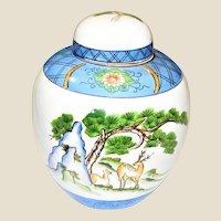 """Vintage 5 1/2"""" Japanese Ginger Jar, Mountain & Deer Design"""