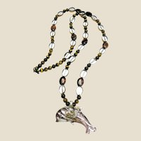 """Foiled Art Glass Dolphin Pendant on 28"""" Art Glass & Tigers Eye Necklace"""