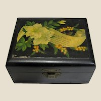Small Black Mauchline Ware Box, LOVES TOKEN