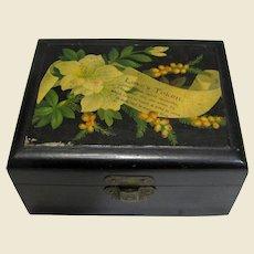 Small Black Mauchline Ware Box, LOVES TOKEN