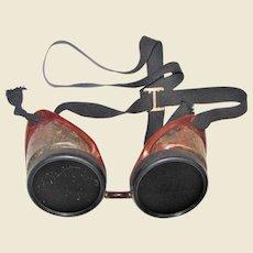 Vintage Safety Goggles w/ Brown Molded Frame, Black Lens Frame & Tinted Lenses