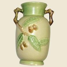 Japanese Art Pottery Acorn, Twig Handle Vase, Roseville Era