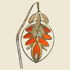 Filigree Plique a Jour Pendant Necklace