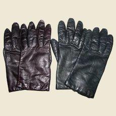 2 Pairs Vintage Leather Gloves, Black, Brown, Sz 7