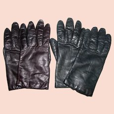 2 Pairs Vintage Leather Gloves, Black, Brown, Sz 7