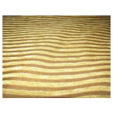 8 Yd Bolt End of Striped Gold Velour Upholstery Fabric