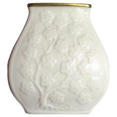 Lenox Small Cherry Blossom Vase, Ivory w/ Gold Trim
